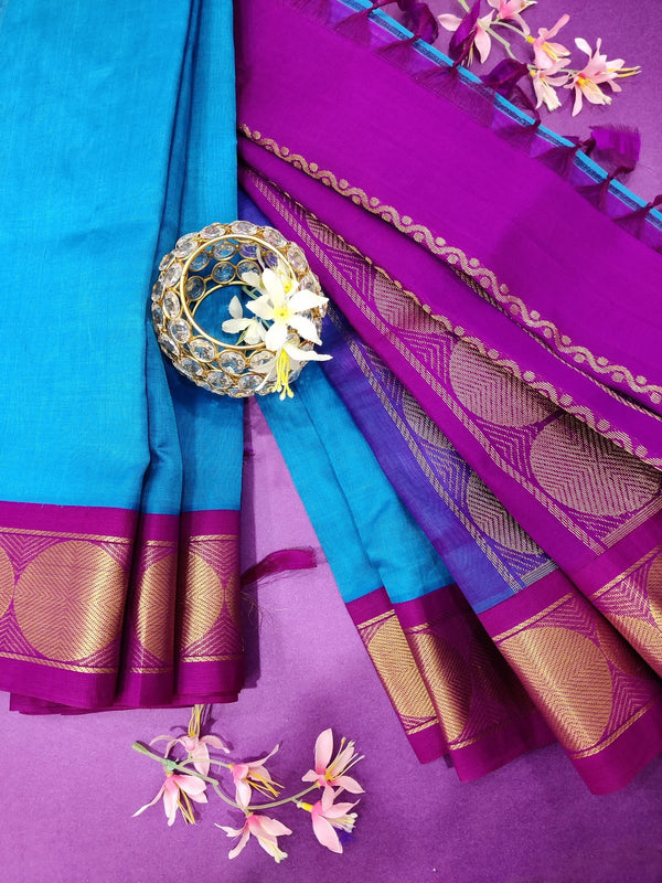 Silk cotton saree cs blue and purple with rich korvai zari border