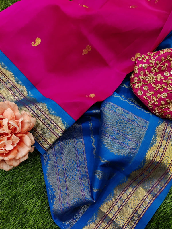 Silk cotton saree pink and cs blue with zari woven buttas and korvai zari border