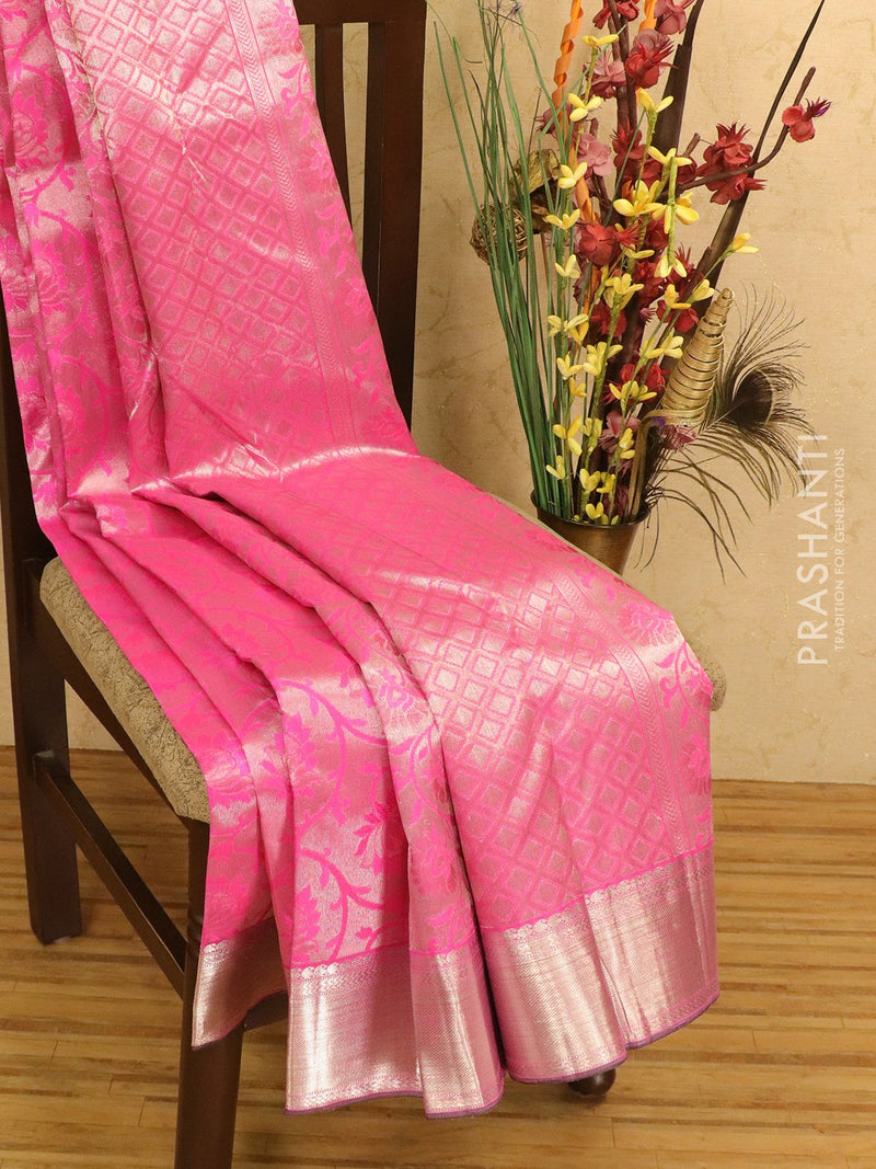 Pure Kanjivaram silk tissue saree pink with allover thread and silver zari floral weaves and zari border