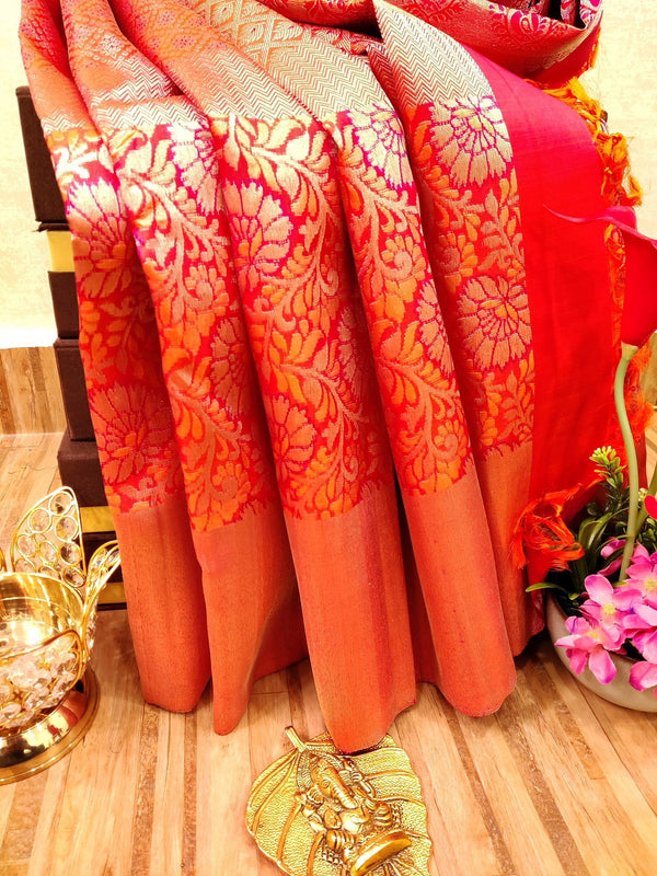 Pure Kanjivaram silk saree dual shade of orange and pink with allover thread and silver zari floral weaves with zari border
