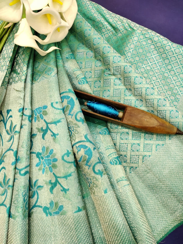Pure Kanjivaram silk tissue saree blue with allover thread and silver zari floral weaves and zari border