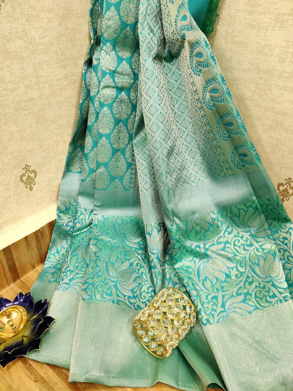 Pure Kanjivaram silk saree blue with allover silver zari floral weaves and zari border