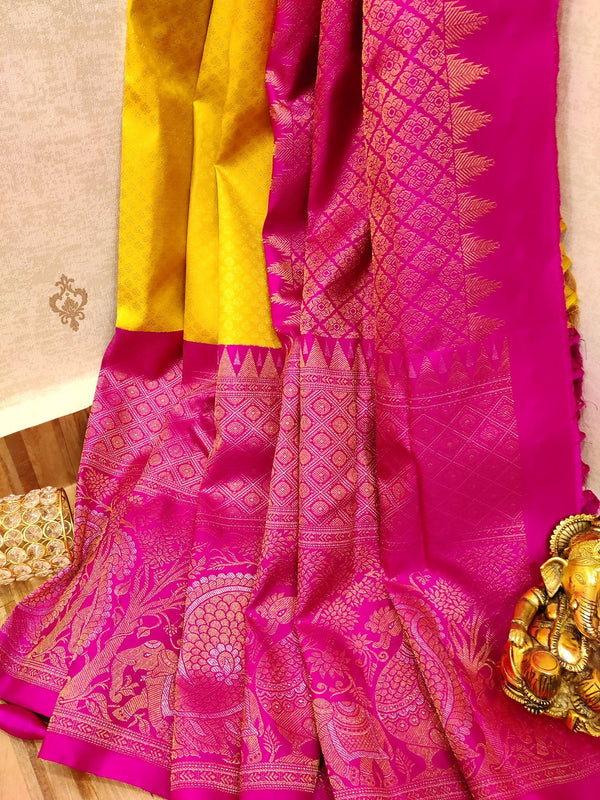 Pure Kanjivaram silk saree yellow and pink with allover golden zari small buttas and rich zari long border