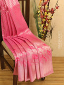 Pure Kanjivaram silk saree pink with allover silver zari small buttas and woven border