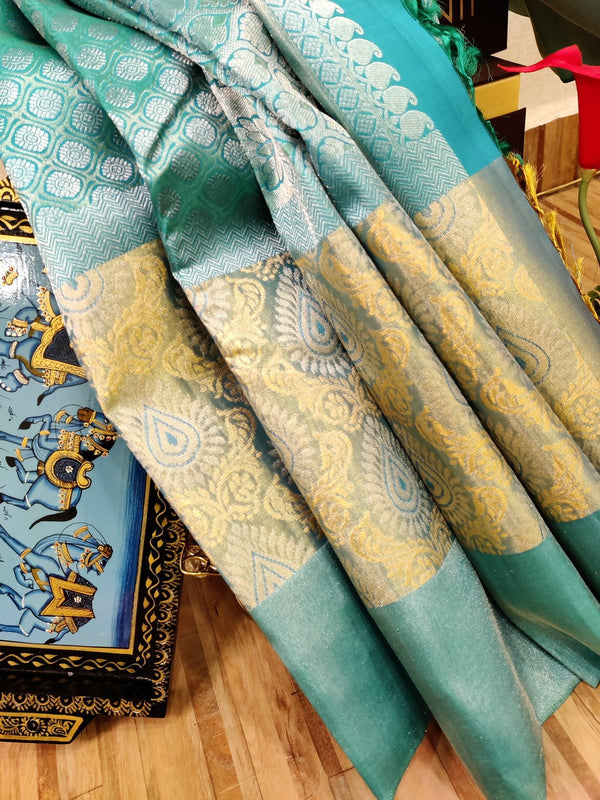 Pure Kanjivaram silk saree blue with allover silver zari brocade pattern and zari woven border