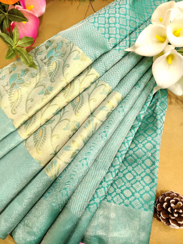Pure Kanjivaram silk saree teal blue with allover silver zari brocade pattern with zari and thread woven border
