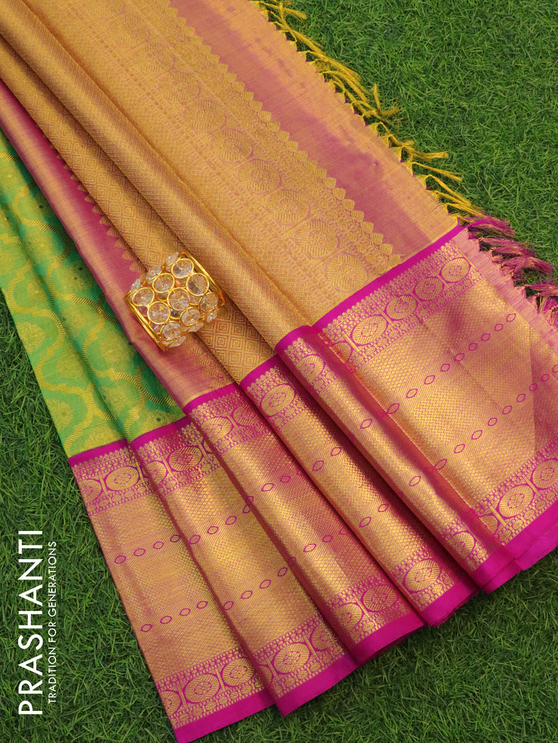 Pure Kanjivaram silk tissue saree green and pink with allover thread and zari weaves with pure zari border