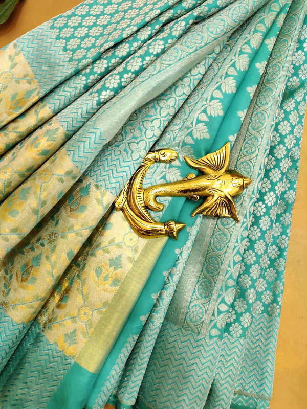 Pure Kanjivaram silk saree teal blue with allover silver zari buttas and woven border