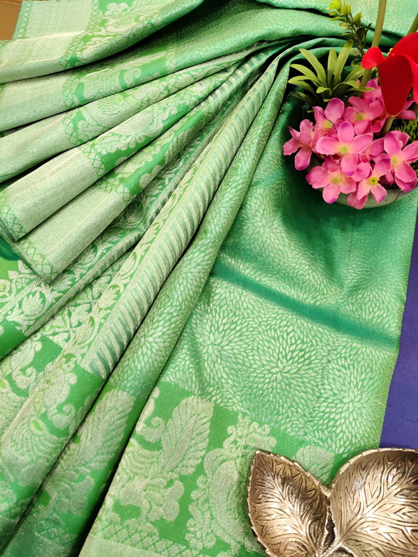 Pure Kanjivaram silk saree teal green with allover silver zari weaves and zari border