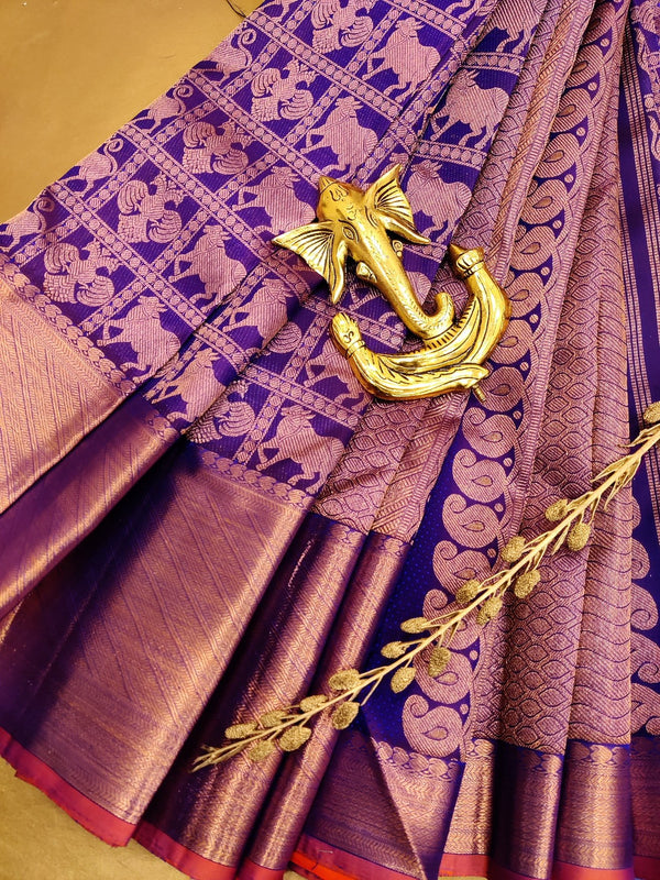 Pure Kanjivaram silk saree violet with checked pattern buttas and copper zari woven border