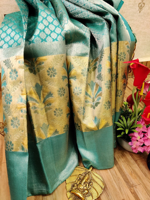 Pure Kanjivaram silk saree light blue with allover brocade pattern and rich silver zari border