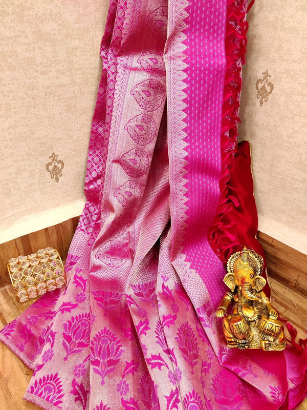 Pure Kanjivaram silk saree pink with allover brocade pattern and silver zari border