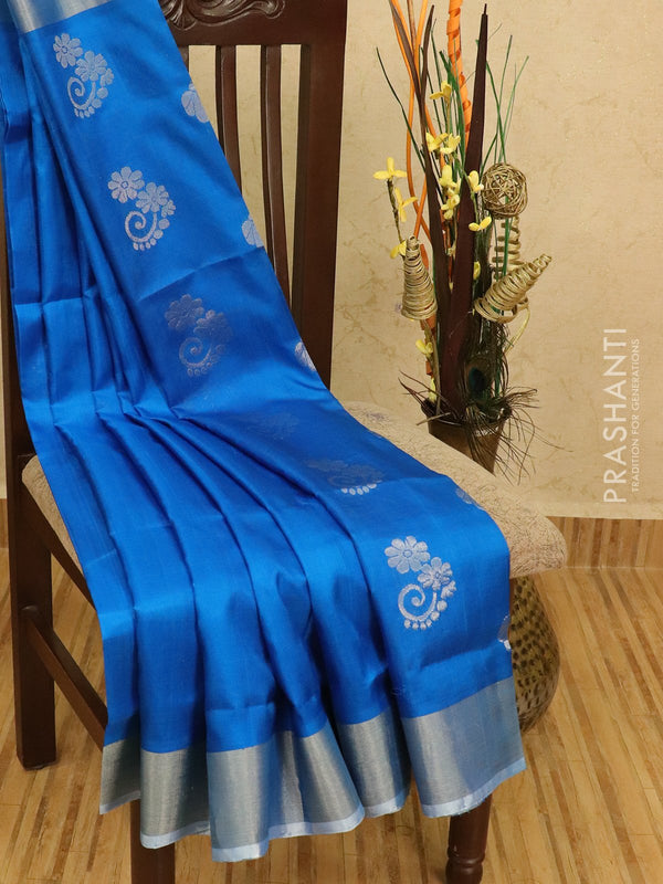 Pure Uppada silk saree cs blue with silver zari woven buttas and zari border
