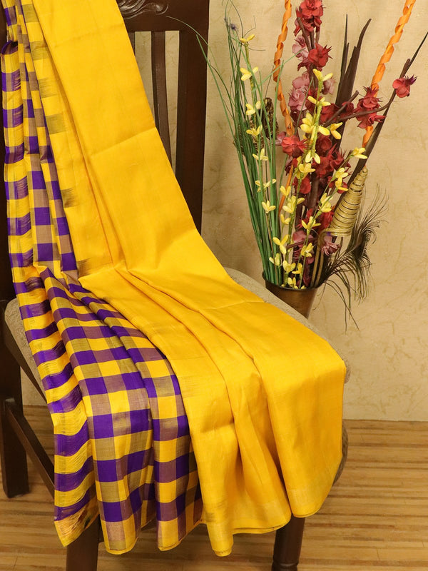 Pure Uppada silk partly saree yellow and violet checked pattern with simple zari border for Rs.Rs. 3790.00 | Silk Sarees by Prashanti Sarees