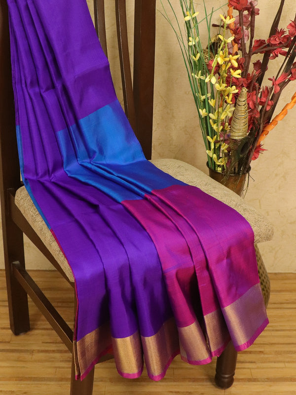 Pure Uppada silk saree magenta pink cs blue and violet three part with golden zari border