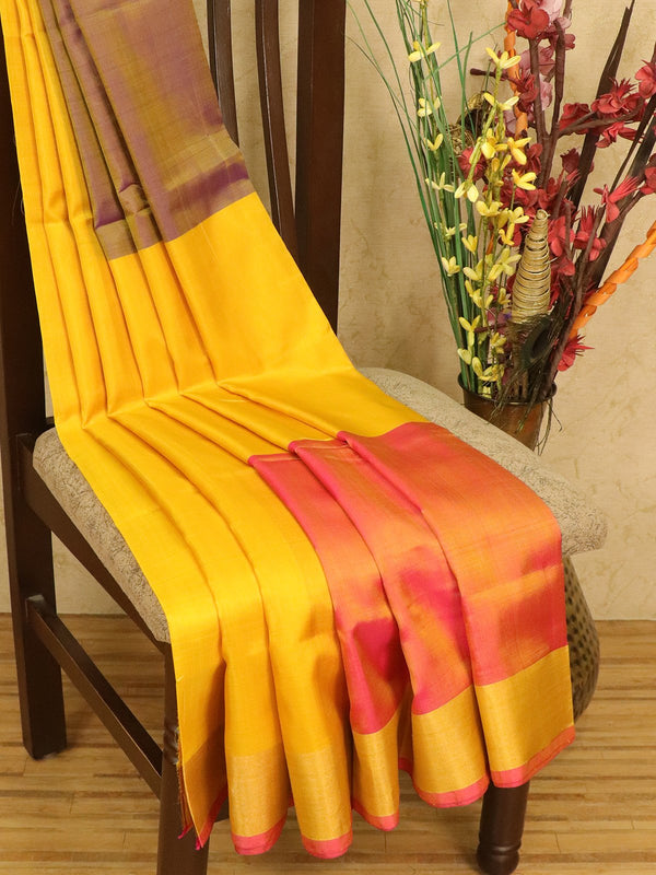 Pure Uppada silk saree pink yellow and violet three part with golden zari border