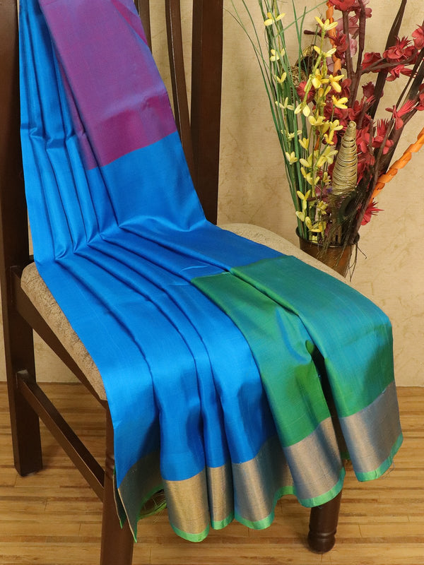Pure Uppada silk saree dual shade of pink cs blue and green three part with golden zari border