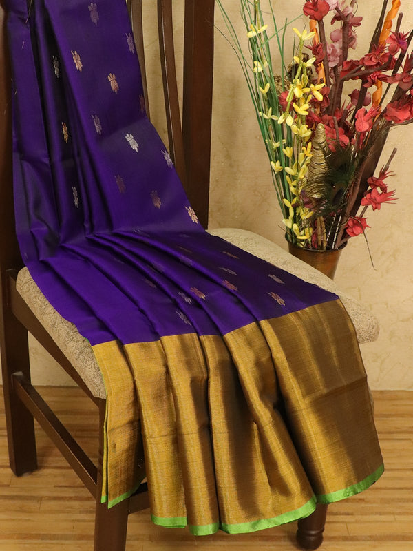 Pure Uppada silk saree blue and light green with zari woven buttas and long zari border