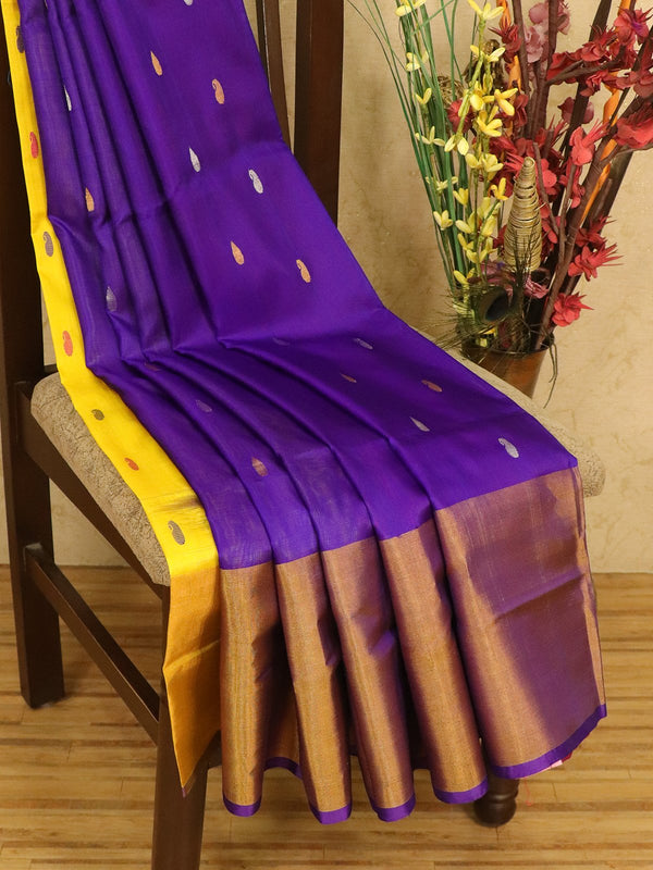 Pure Uppada silk saree dual shade of violet with zari woven buttas and long zari border