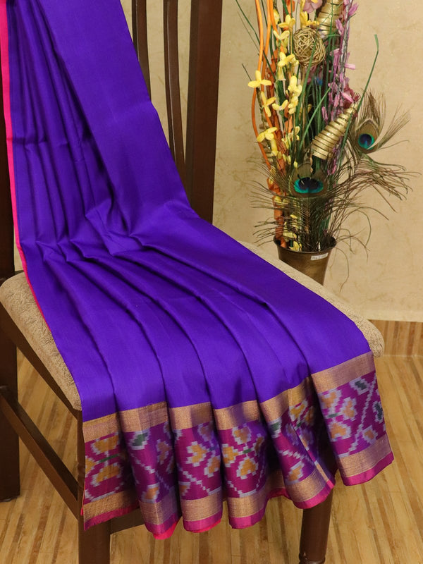 Pure Uppada silk saree violet and pink with plain body and ikat woven border