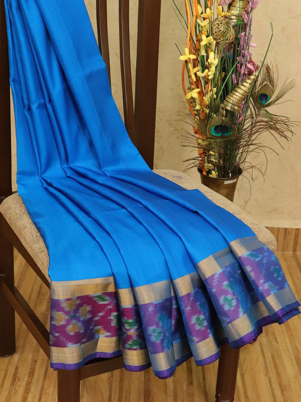 Pure Uppada silk saree cs blue and violet with plain body and ikat woven border