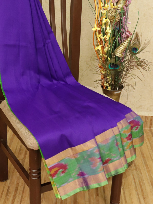 Pure Uppada silk saree violet and green with plain body and ikat woven border