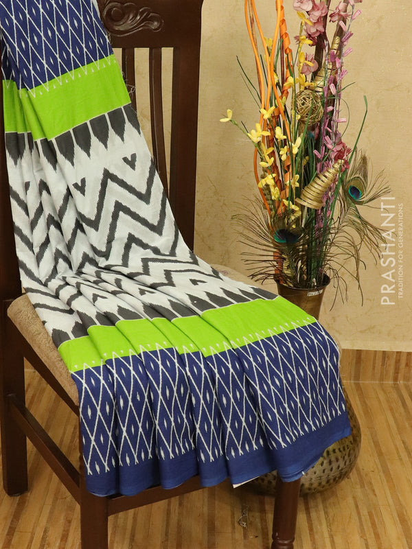 Jaipur cotton saree white and blue with zig zac prints