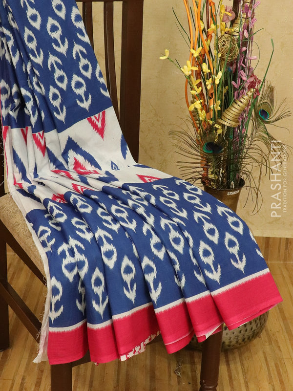 Jaipur cotton saree blue and pink with ikat prints