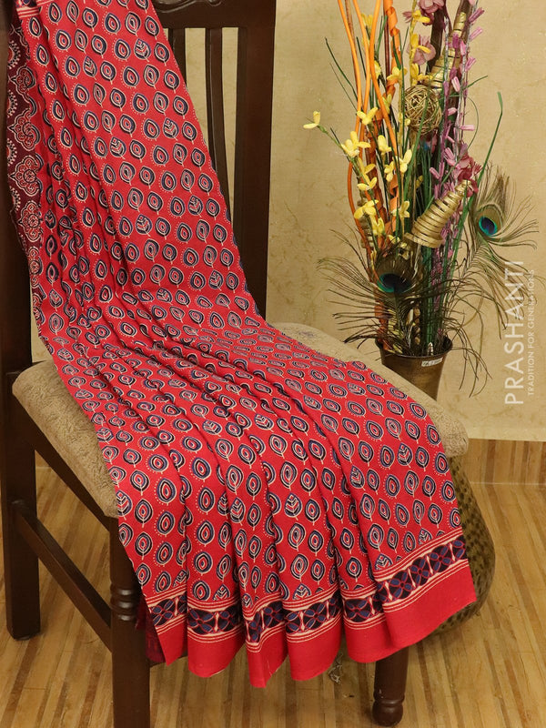 Jaipur cotton saree red with allover floral prints