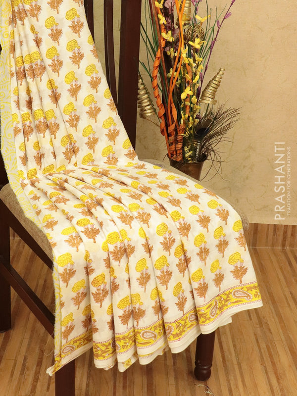Jaipur cotton saree off white with allover floral prints