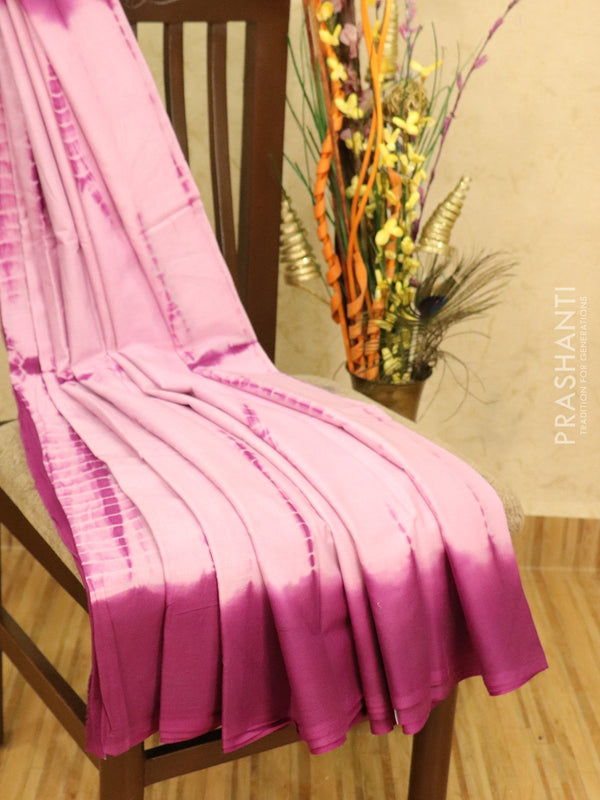 Jaipur cotton saree mild pink and purple with tie and dye prints