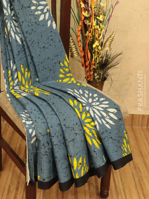 Jaipur cotton saree grey with batik prints