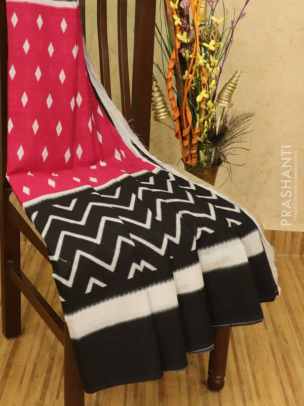 Jaipur cotton saree pink and black with allover prints