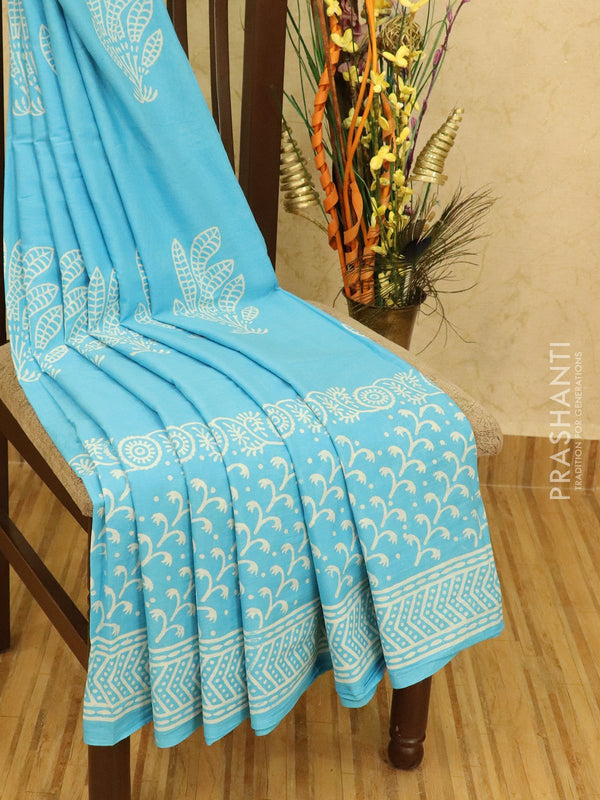 Jaipur cotton saree light blue with floral prints
