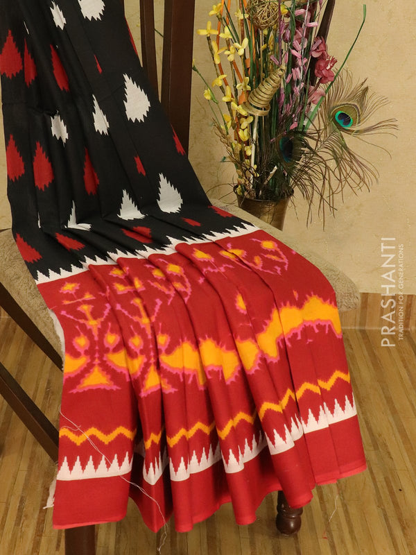 Jaipur cotton saree black and red with ikat prints
