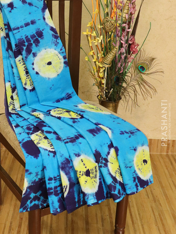Jaipur cotton saree cs blue and blue with tie and dye prints