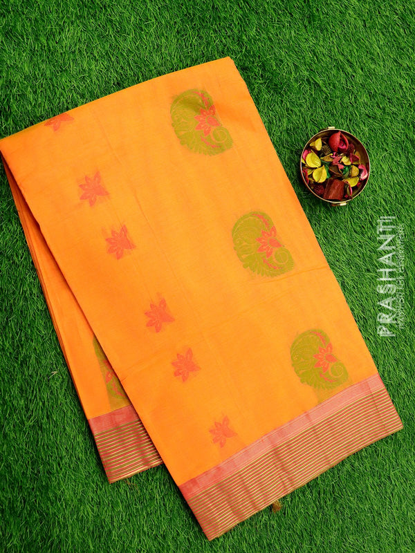 Handloom Cotton Saree peach and pink with thread woven paisley buttas and zari border