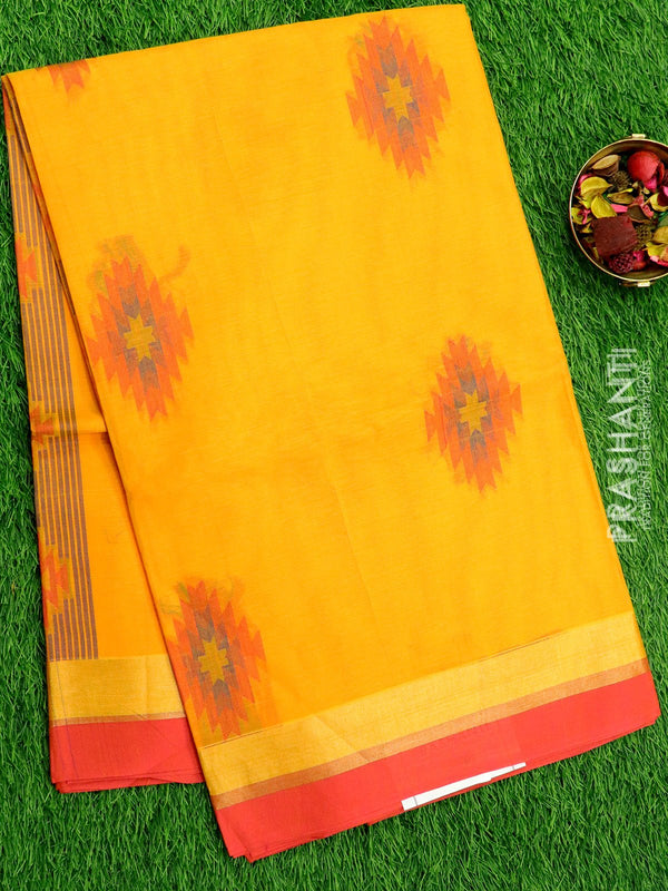 Handloom Cotton Saree mango yellow and pink with thread woven buttas and zari border
