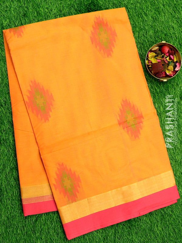 Handloom Cotton Saree peach orange and pink with thread woven buttas and zari border