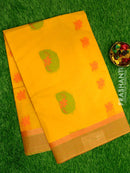 Handloom Cotton Saree yellow with thread woven buttas and zari border