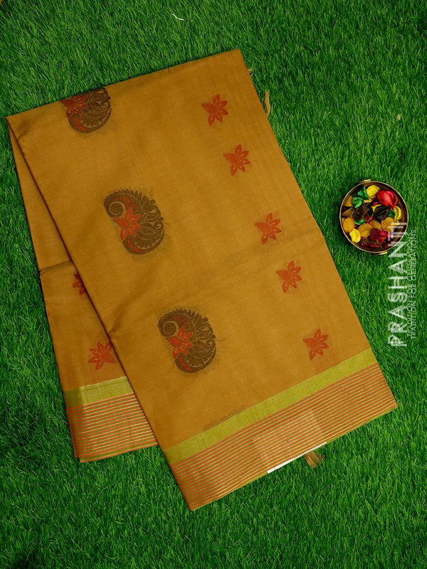 Handloom Cotton Saree pale brown with thread woven buttas and zari border