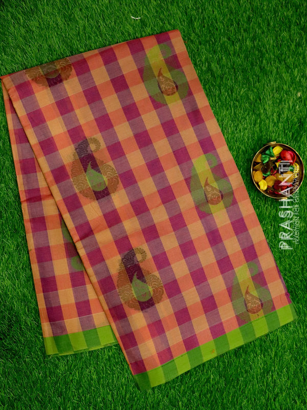 Handloom Cotton Saree purple and green checked pattern with thread woven paisley buttas and border