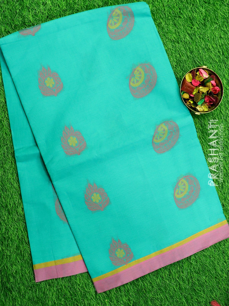Handloom Cotton Saree teal and purple with thread woven buttas and border