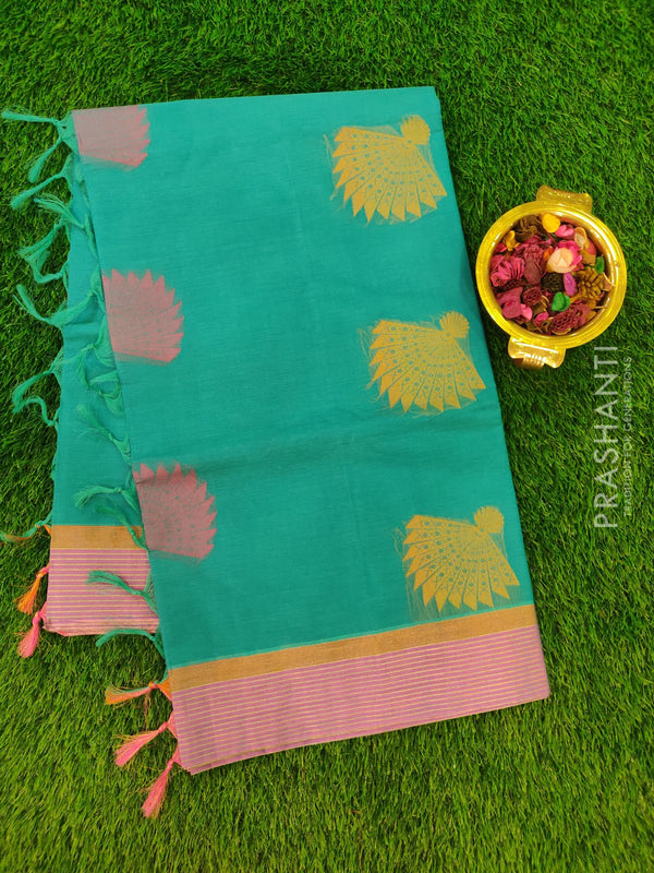 Handloom Cotton Saree green with thread woven buttas and zari border