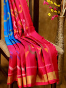 Ikkat soft silk saree cs blue and pink with kaddi zari border