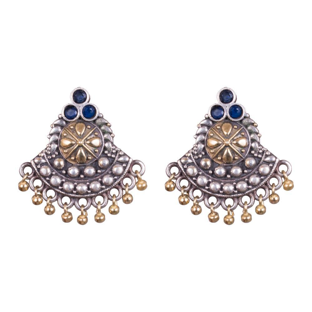 Chandbali traditional blue kemp earrings