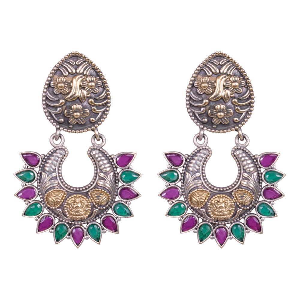 Chandbali dual tone earrings