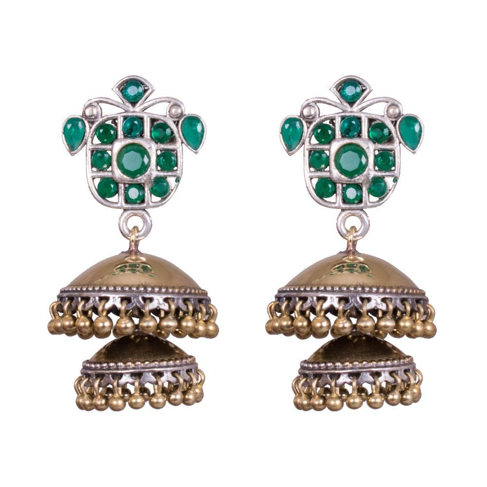 Layered green kemp dual tone earrings