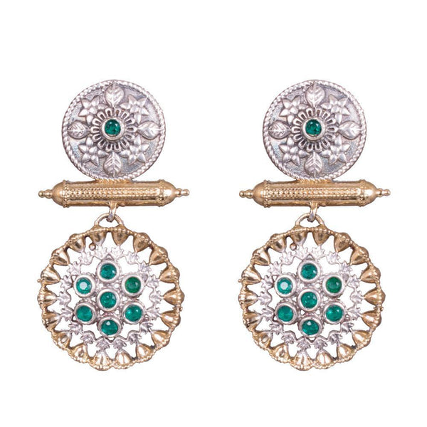 Dual Tone Circular Layered Earrings