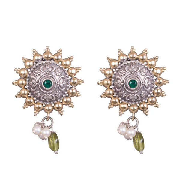 Dual Tone Circular Sun Design Earrings